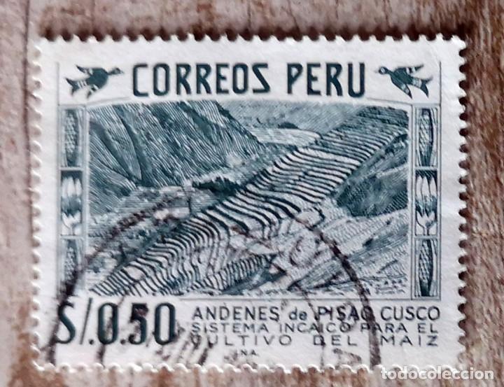 PERU,1957, SISTEMA INCAICO PARA CULTIVO DE MAÍZ. SELLO USADO (Sellos - Extranjero - América - Perú)
