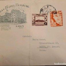 Sellos: O) 1936 PERÚ, MAPA DE CARRETERAS DEL PERÚ, GOBIERNO RESTAURANTE EN EL CALLAO, GRAN HOTEL BOLIVAR, A. Lote 277536263