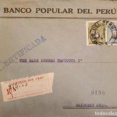 Sellos: O) 1918 PERÚ, GENERAL CACERES, BOLOGNESI, BANCO POPULAR DEL PERÚ, CERTIFICADO A SANDUSKY, XF. Lote 277538763