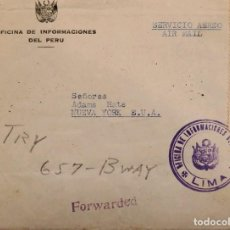 Sellos: O) PERU, OFFICIAL MAIL, INFORMATION OFFICE OF PERU, CIRCULATED TO USA. Lote 278296323