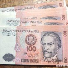 Sellos: PERU 100 INTIS DE 1987- 20 BILLETES CON SERIE CORRELATIVAS (RAMON GARCIA). Lote 283826713