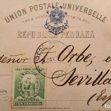 Sellos: O) 1990 PERÚ, MANCO CAPAC, FUNDADOR DE INCA DYNASTY, PAPELERÍA POSTAL NUMERAL 3C, CIRCULADA A ESPAÑA. Lote 287970498
