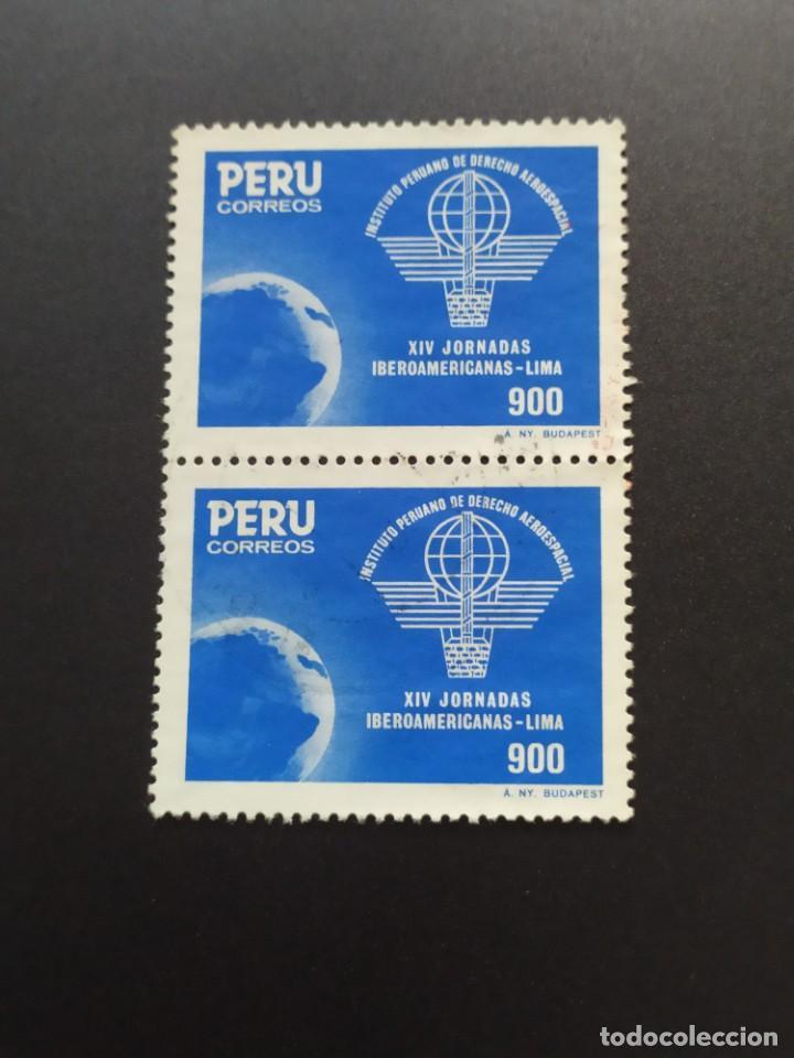 ## PERÚ USADO 1985 XIV JORNADAS IBEROAMERICANAS BLOQUE DE 2 A ELLOS## (Sellos - Extranjero - América - Perú)
