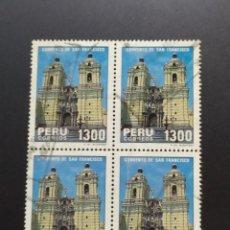 Sellos: ## PERÚ USADO 1985 CONVENTO SAN FRANCISCO BLOQUE DE 4 SELLOS##. Lote 288338623