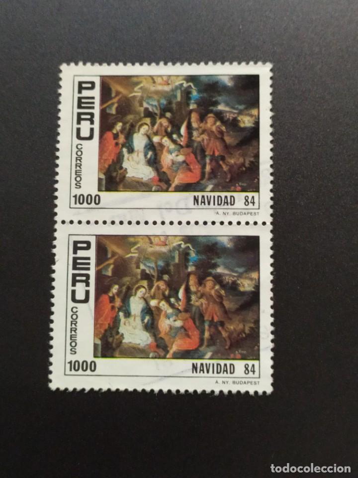 ## PERÚ USADO 1984 NAVIDAD BLOQUE DE 2 SELLOS## (Sellos - Extranjero - América - Perú)