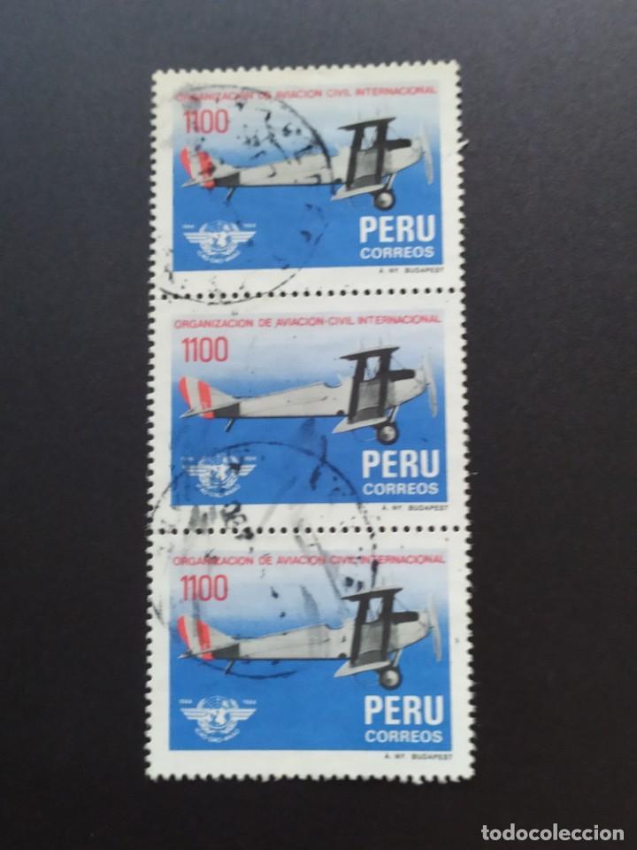 ## PERÚ USADO AVIACION CIVIL BLOQUE DE 3 SELLOS## (Sellos - Extranjero - América - Perú)