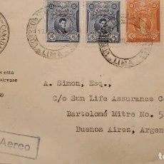 Sellos: O) PERÚ, GRAN MARISCAL LA MAR GUERRA DE INDEPENDENCIA, PRESIDENTE AUGUSTO B. LEGUIA, SUN LIFE ASSURA. Lote 288415618