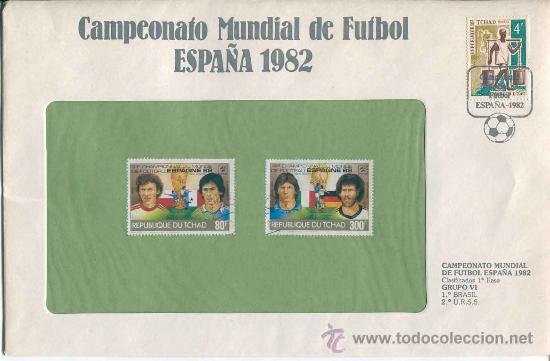 SOBRE CON SELLOS MUNDIAL FUTBOL ESPAÑA 1982 - REPUBLIQUE DU TCHAD - SERIE 57 (Sellos - Material Filatélico - Guillotinas y Pinzas)