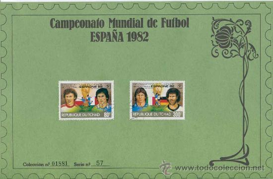 Sellos: Sobre con sellos mundial futbol españa 1982 - republique du tchad - serie 57 - Foto 2 - 33166577