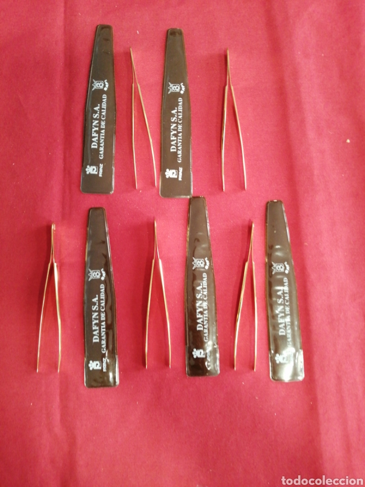 LOTE FE 5 PINZAS DORADAS NUEVAS (Sellos - Material Filatélico - Guillotinas y Pinzas)