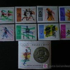 Sellos: POLONIA 1968 IVERT 1705/13 *** JUEGOS OLIMPICOS DE MEJICO - DEPORTES. Lote 17693772