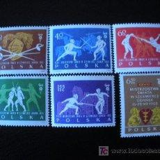 Sellos: POLONIA 1963 IVERT 1271/6 *** XXVIII CAMPEONATOS DEL MUNDO DE ESGRIMA EN GDANSK - DEPORTES. Lote 86601523