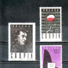 Sellos: POLONIA 1023/5 SIN CHARNELA, MUSICA, 150º ANIVERSARIO DEL NACIMIENTO DE FREDERIC CHOPIN, . Lote 19107707