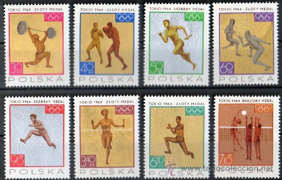 POLONIA AÑO 1965 YV 1472/79*** JUEGOS OLÍMPICOS DE TOKIO'64 - DEPORTES - ATLETISMO - BOXEO - ESGRIMA (Sellos - Extranjero - Europa - Polonia)