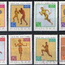 Sellos: POLONIA AÑO 1965 YV 1472/79*** JUEGOS OLÍMPICOS DE TOKIO'64 - DEPORTES - ATLETISMO - BOXEO - ESGRIMA. Lote 26771298