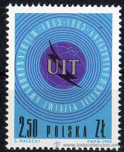 POLONIA AÑO 1965 YV 1437*** CENTENARIO DE LA U.I.T. - TELECOMUNICACIONES (Sellos - Extranjero - Europa - Polonia)