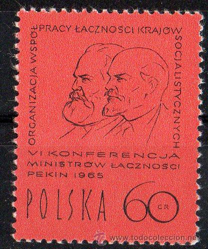 POLONIA AÑO 1965 YV 1448*** CONFERENCIA DE MINISTERIOS POSTALES - TELECOMUNICACIONES - PERSONAJES (Sellos - Extranjero - Europa - Polonia)