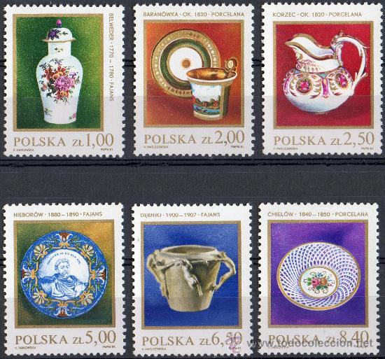 POLONIA AÑO 1981 YV 2556/61* PORCELANAS - ARTESANÍA (Sellos - Extranjero - Europa - Polonia)