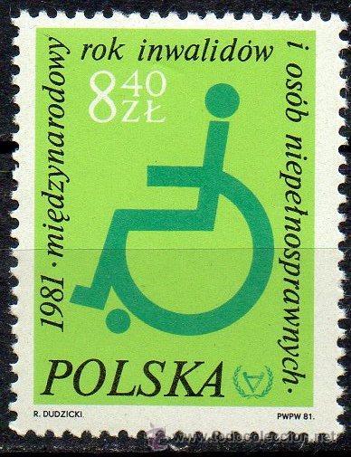 POLONIA AÑO 1981 YV 2579*** AÑO INTERNACIONAL DE LAS PERSONAS DISCAPACITADAS - SALUD (Sellos - Extranjero - Europa - Polonia)