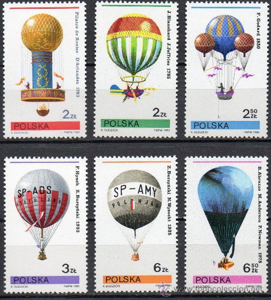 POLONIA AÑO 1981 YV 2546/51*** GLOBOS AEROSTÁTICOS - TRANSPORTES (Sellos - Extranjero - Europa - Polonia)