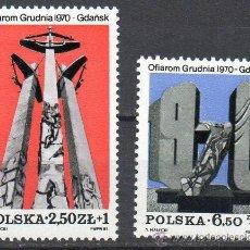 Sellos: POLONIA AÑO 1981 YV 2597/98*** MONUMENTO POR LAS VÍCTIMAS DE 1970 - ESCULTURA - ARTE. Lote 23540562