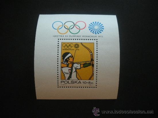 POLONIA 1972 HB IVERT 57 *** JUEGOS OLÍMPICOS DE MUNICH - DEPORTES - TIRO CON ARCO (Sellos - Extranjero - Europa - Polonia)