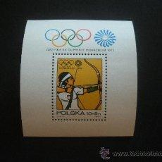 Timbres: POLONIA 1972 HB IVERT 57 *** JUEGOS OLÍMPICOS DE MUNICH - DEPORTES - TIRO CON ARCO. Lote 29993920