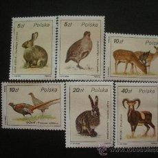 Sellos: POLONIA 1986 IVERT 2829/34 *** FAUNA - ANIMALES DE CAZA. Lote 30212547