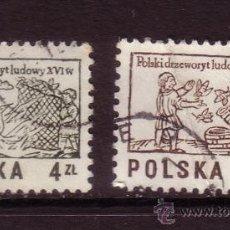 Sellos: POLONIA 2366/67 - AÑO 1977 - FOLKLORE - ARTE - GRABADOS EN MADERA. Lote 143544532