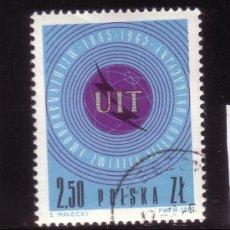 Sellos: POLONIA 1437 - AÑO 1965 - CENTENARIO DE LA UNION INTERNACIONAL DE TELECOMUNICACIONES. Lote 32825822