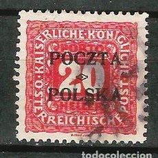 Sellos: POLONIA 1919 GOBIERNO PROVISIONAL. TASA SELLO DE TASA DE AUSTRIA DE 1916. Lote 62306440