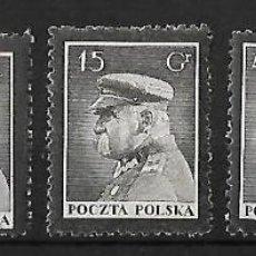 Sellos: POLONIA 1935 MUERTE DEL MARISCAL PILSUDSKI SERIE COMPLETA. Lote 74379987
