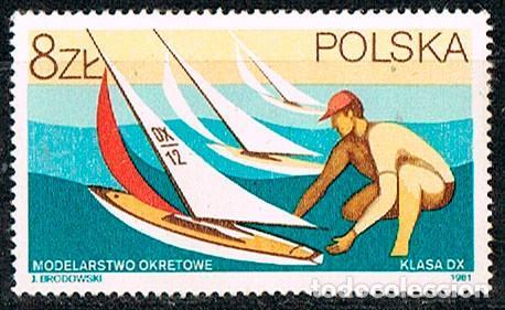 POLONIA 2768, VEHICULOS A RADIO CONTROL, LANCHA A VELA, NUEVO *** (Sellos - Extranjero - Europa - Polonia)