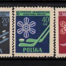 Sellos: POLONIA 1956 IVERT 852/4 *** 11º CAMPEONATOS UNIVERSITARIO DE DEPORTES DE INVIERNO. Lote 86196108