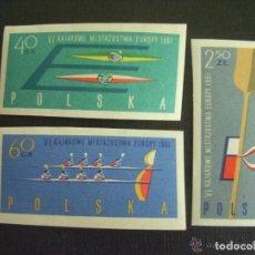 Sellos: POLONIA 1961 IVERT 1117/9 *** SIN DENTAR - 6º CAMPEONATO DE EUROPA DE CANOA - DEPORTES. Lote 86300004