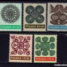 Timbres: POLONIA 1971 IVERT 1939/43 *** SERIE BÁSICA - ENCAJES - ARTESANIA. Lote 86669424