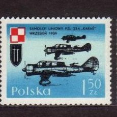 Timbres: POLONIA 1971 IVERT 1966/8 *** AVIONES DE GUERRA DE 1939. Lote 86669632