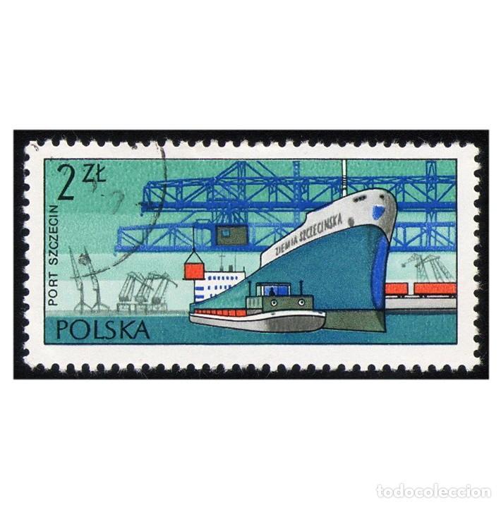 POLONIA 1976. MICHEL 2479, YVERT 2311. GABARRA Y BARCO DE CARGA ZIEMIA SZCZECINSKA (SZCZECIN). USADO (Sellos - Extranjero - Europa - Polonia)