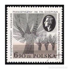 Francobolli: POLONIA 1980. MICHEL PL 2714, YVERT PL 2531. MÚSICA. CONCURSO DE PIANO CHOPIN. USADO. Lote 114202619