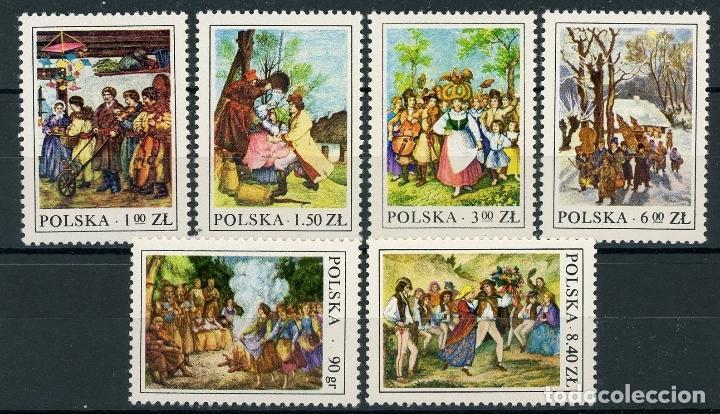 POLONIA 1975 IVERT 2338/43 *** COSTUMBRES DEL FOLKLORE POLACO (Sellos - Extranjero - Europa - Polonia)