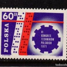 Sellos: POLONIA 1948** - AÑO 1971 - CONGRESO DE TECNICOS. Lote 236435455