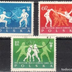 Sellos: POLONIA - 3 SELLOS IVERT 1272-73-74 (3 VALORES) - 28º MUNDIAL DE ESGRIMA 1963 - NUEVO MATASELLADO. Lote 151515602