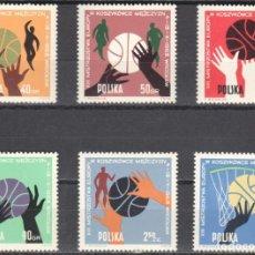 Sellos: POLONIA - 1 SERIE IVERT 1284-89 (6 VALORES) - 13º EUROPEO DE BALONCESTO 1963 - NUEVO GOMA ORIGINAL. Lote 151547910