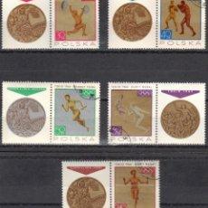 Sellos: POLONIA - 5 SELLOS IVERT 1472-3-4-5-7 (8 VALORES) - JUEGOS OLIMPICOS ROMA 1965 - NUEVO GOMA ORIGINAL. Lote 151548418