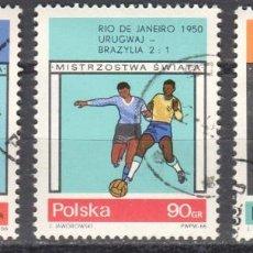 Sellos: POLONIA - 3 SELLOS IVERT 1524-5-6 (3 VALORES) - CAMPEONATO MUNDIAL FUTBOL 1966 - NUEVO MATASELLADO. Lote 151548746