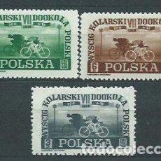 Sellos: POLONIA - CORREO 1948 YVERT 515/7 * MH DEPORTES CICLISMO. Lote 163061365