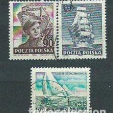 Sellos: POLONIA - CORREO 1952 YVERT 658/60 O BARCOS. Lote 163061593