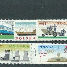 Sellos: POLONIA - CORREO 1966 YVERT 1516/21 ** MNH BARCO. TREN.. Lote 163062980
