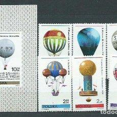Sellos: POLONIA - CORREO 1981 YVERT 2546/51+H.93 ** MNH GLOBOS. Lote 163064292