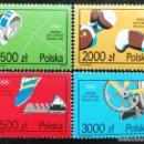 Sellos: 1992. DEPORTES. POLONIA. 3193 / 3196. JUEGOS OLÍMPICOS BARCELONA. SERIE COMPLETA. NUEVO.. Lote 163950918